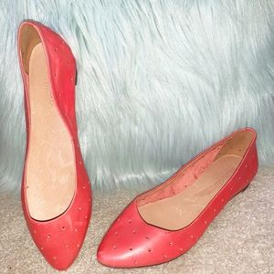 NEW! Madewell Red Leather Flats Size 8